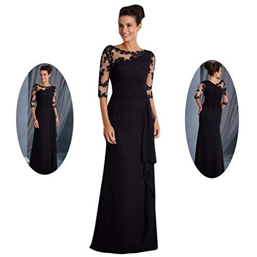 Women Ladies Long Lace Stitching Dress Round Neck Mid Sleeve Summer Formal Maxi Dress Black]()