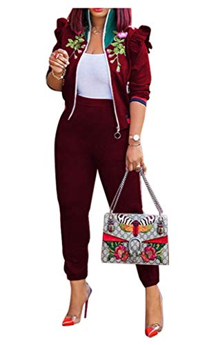 2 Piece Outfits for Women Clubwear - Long Sleeve Ruffle Floral Embroidered Athletic Zip Up Jacket Crop Top with Bodycon Sweatpants Set Tracksuit Wine Red, Small