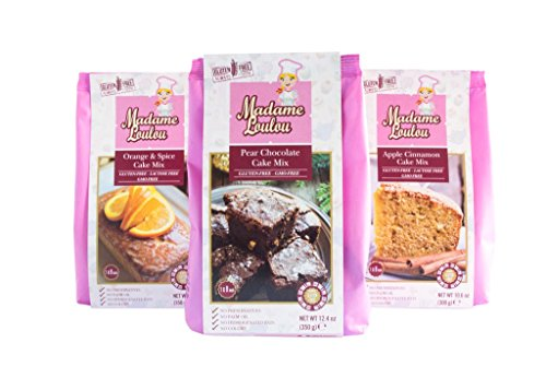 Madame Loulou Gluten Free Cake Mix Try-Pack (celiac friendly) Pear Chocolate, Apple Cinnamon, Orange & Spice (Pack of 3) 2.2lbs total by Madame Loulou