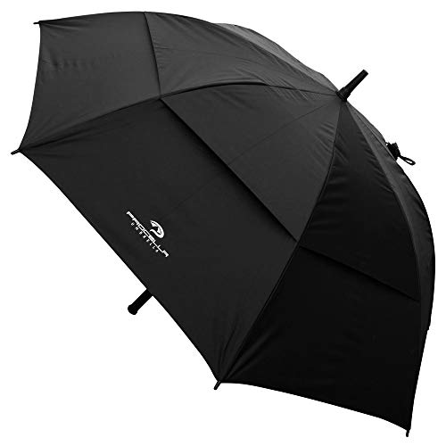 Procella Sun Umbrella with UV Protection - 62 Inch Large Golf Umbrella Windproof - Vented Double Canopy - Automatic Open (Black)
