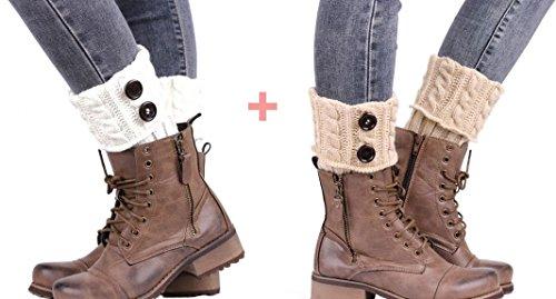 Women Winter Warm Leg Warmer Cable Knit Button Boot Cuffs Socks Short 2 Pairs