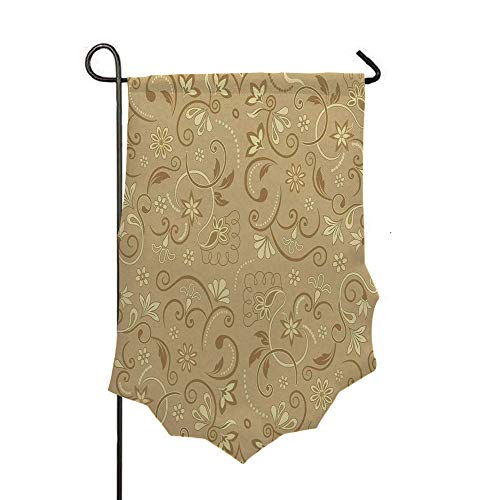 Double Sided 3D Printed Garden Flag,Style Feminine Floral Motifs Retro Edwardian Period,Holiday Decorations Outdoor Garden Flag Durable Cotton and Linen