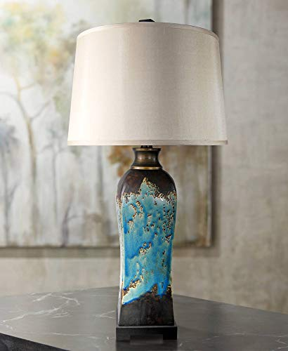Beige Ceramic Table Lamp - Mazara Modern Table Lamp Ceramic Rust and Blue Beige Tapered Drum Shade Living Room Family Bedroom Bedside Nightstand - Possini Euro Design