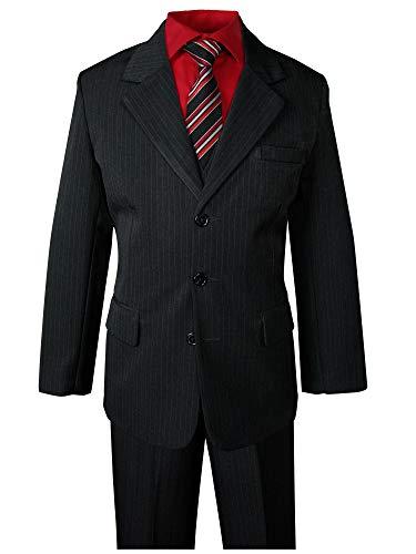 Spring Notion Big Boys' Pinstripe Suit Set Black-Red Stripes 14