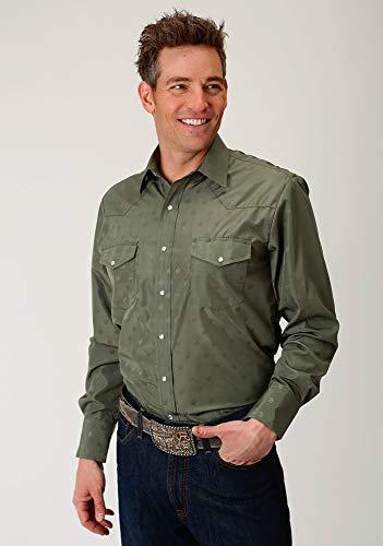 - ROPER 80/20 Mens Green Cotton Blend Horseshoes L/S Shirt XL