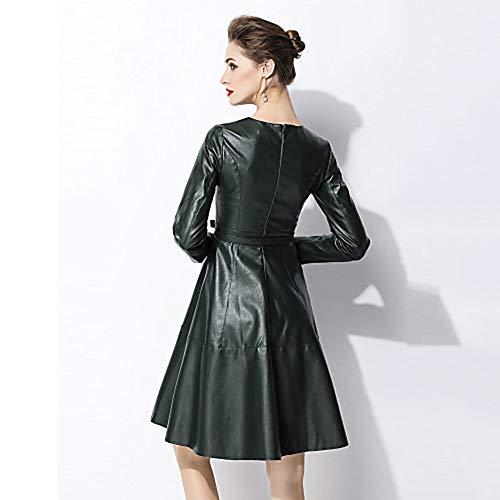 Donna Line Abito Tinta Green JIZHI Stile Elegante Da L A Unita In wF7qx0Epq