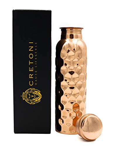 Cretoni Copperlin Pure Copper Water Bottle : Honeycomb Diamond Seemless Leak Proof Design : Perfect Ayurvedic Copper Vessel for Sports, Fitness, Yoga, Natural Health Benefits (900 Milliliter/30 Ounce)