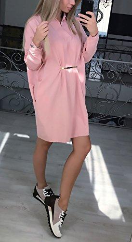 Damen Shirtkleider Elegant Sommer Herbst Kleider Loose Casual Lange ...