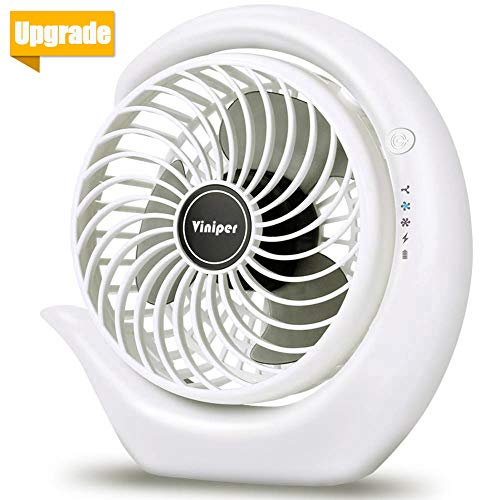 Battery Operated Fan, viniper Rechargeable Fan : 180° Rotation and 3 Speeds Strong Wind Portable USB Quiet Fan, Optimised Battery & Longer Working Hours, Strong Cooling (6.2 inch, White)