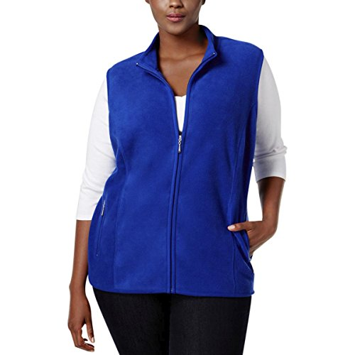 Karen Scott Sports Womens Plus Fleece Mock Neck Outerwear Vest Blue 3X