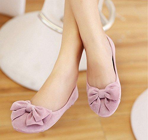 Chfso Femme Slip Sur Larc Bout Rond Mocassins Bateau Chaussures Flats Pompes Rose