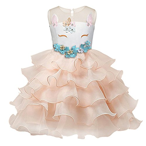 Little 5 Flowers (Eshiree Little Girls Flower Ruffles Dress Princess Pageant Wedding Party Gowns (Pink, 4-5years))