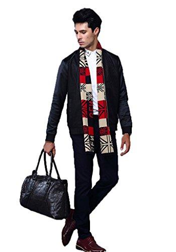 BessWedding Striped Pattern Cashmere Shawl Wrap Zig Zag Winter Scarfs for Men Multicolor