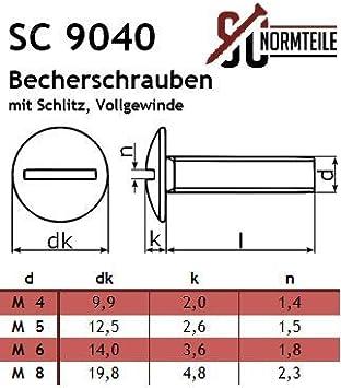 SC9040 20 St/ück M3x5 - Vollgewinde SC-Normteile/® - Becherschrauben Edelstahl A2 V2A Flachrundschrauben mit Schlitz