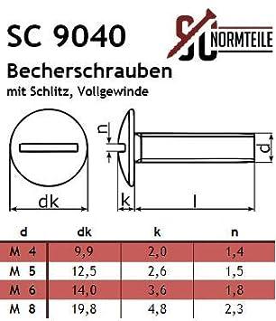 Vollgewinde SC9040 - Becherschrauben Flachrundschrauben mit Schlitz SC-Normteile M5x50 - 20 St/ück Bordwandschrauben Edelstahl A2 V2A