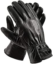 Mens Winter Black Genuine Leather Gloves For Driving Dress Real Sheepskin Leather Warm Fleece Lined Gloves Anc
