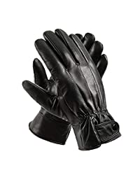 Mens Winter Black Genuine Leather Gloves For Driving Dress Real Sheepskin Leather Warm Fleece Lined Gloves Anccion
