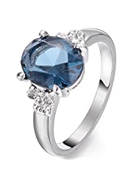 Yoursfs Blue Topaz Ring for Women 18 K White Gold Plated Solitaire Rings