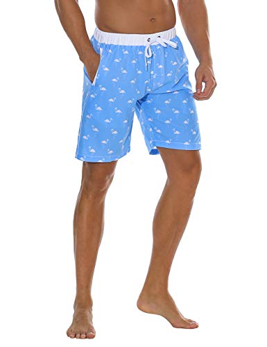 Nonwe Men's Board Shorts Printed Quick Dry Drawsting with 3 Pockets Firebird Blue Printed 28