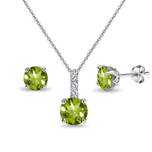 Sterling Silver Peridot & White Topaz Round Crown Stud Earrings & Necklace Set
