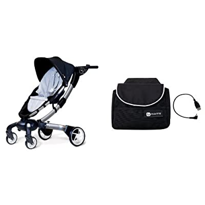 4moms Origami Stroller, Black/ Silver and Origami Handlebar Bag Plus Cell Phone Cable, Black