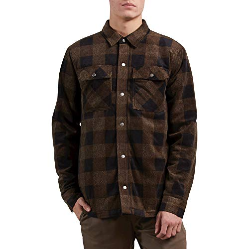 (Volcom Men's Bower Button Up Polar Fleece, Old Gold, Small)