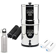 Big Berkey Water Filter System w/ 2 Black Purifier Filters (2 Gallons) Bundled w/ 1-set of Fluoride Filters (PF2)