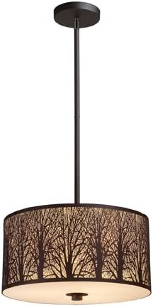 Elk 31074 3 Woodland Sunrise 3-Light Pendant In Aged Bronze