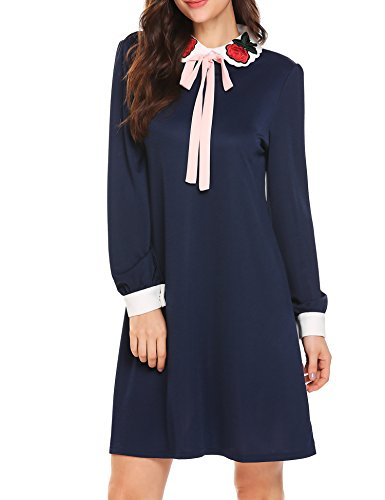 bubblebelle Women's Rose Embroidery Peter Pan Collar Bow Tie Long Sleeve Loose Wednesday Addams Dress,Navy Blue,L