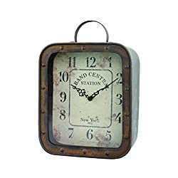 Stonebriar Grand Central Station Square Rustic Tabletop Clock