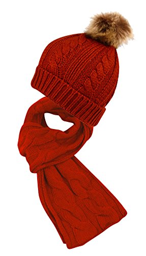 Angela & William Unisex Winter Warm Cable Knit Scarf with complementing PomPom Slouchy Beanie Hat - (Burgundy Felt Bonnet)