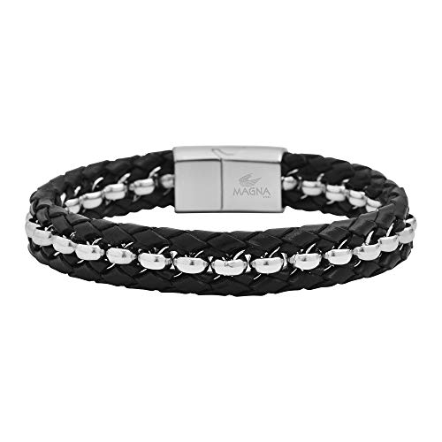 Magna Steel Men's Braided Genuine Leather Rolo Bracelet with Magnet Closure, Silver