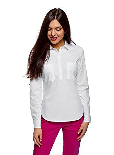 Chemise en avec Poches Blanc Coton 1000n Femme oodji Ultra tq7BWxASE