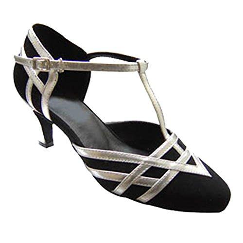 Women's Latin Heel Tango Ballroom Toe Shoesland Chunky W985 Dance Shoes Round Salsa Dance Black 4nxFpUSF