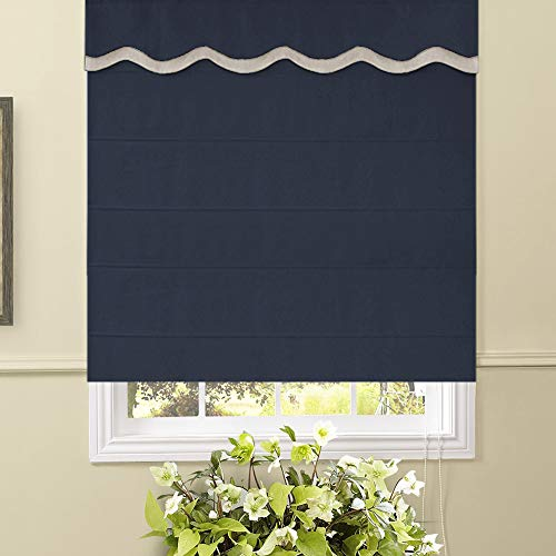Artdix Roman Shades Blinds Window Shades - Navy Blue 37 W x 60L Inches (1 Piece) Thermal Solid Fabric Custom Made Roman Shades for Windows, Doors, Home, Kitchen, Living Room Including Valance ()