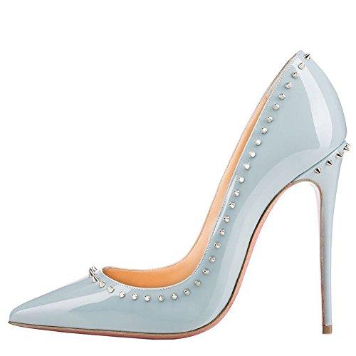 High verzierte CyhfO Pumps Kleid Nieten Heel Frauen Schuhe hellblau Jushee Party Toe wies 5Igqaq0w