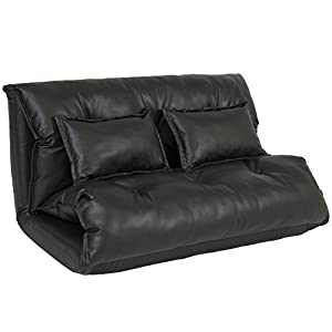 Best Choice Products PU Leather Foldable Modern Leisure Floor Sofa Bed with Two Pillows, Black