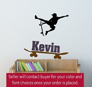 Boys room skateboarder sticker, teen boys personalized wall decal, childs room name decal, kids bedroom decor, skateboard (36 X 37 inches)
