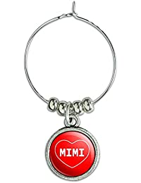 Buy Wine Glass Charm Drink Marker I Love Heart Names Female M Mich - Mimi online
