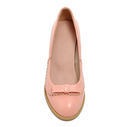 BalaMasa da donna slip-on low-heels solido in pelle goffrata pumps-shoes, Rosa (Pink), 35