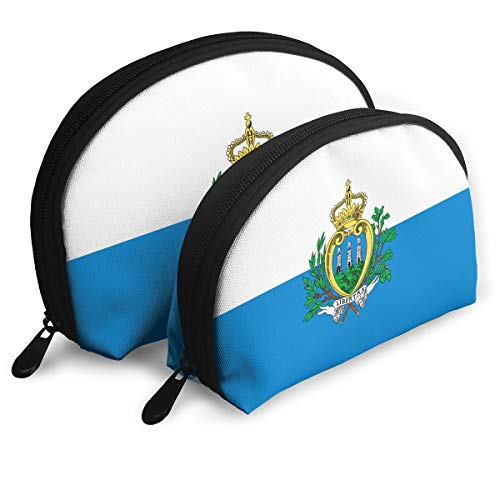 (DF039ht20 Flag Of San Marino Shell Shape Zipper Cosmetic Bags,Travel Bag,Makeup Holder Case (2-Pack))