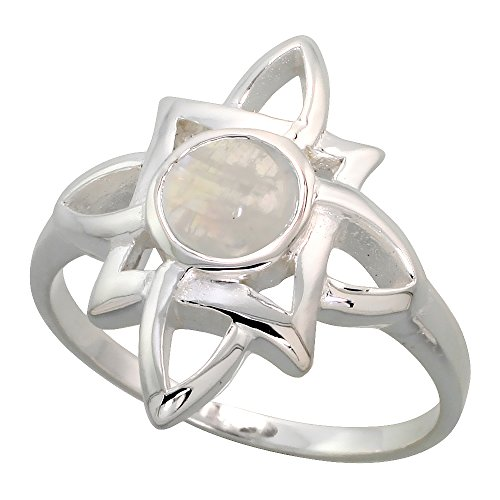 Sterling Silver Celtic Quaternary Knot Ring with Natural Moonstone 3 4 inch wide, sizes 6 – 10