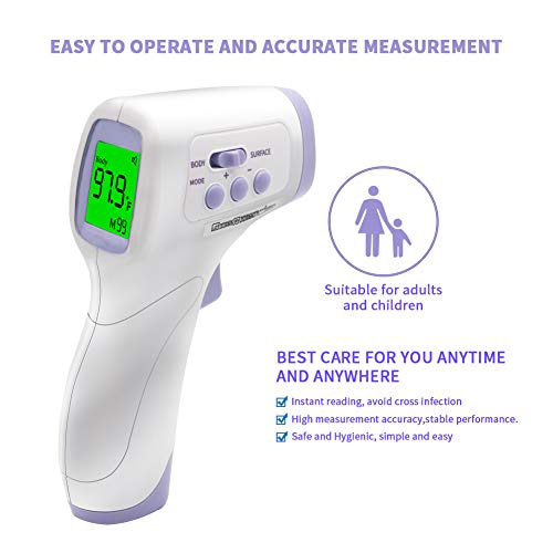 Forehead Thermometer for Adults, Non Contact Infrared Thermometer for Baby, Kids, LCD Display, Instant Readings