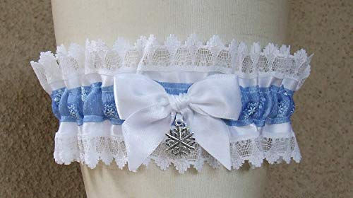- Snowflake Wedding Garter in Light Blue White and Silver with Your Choice of Snowman or Snowflake Charm