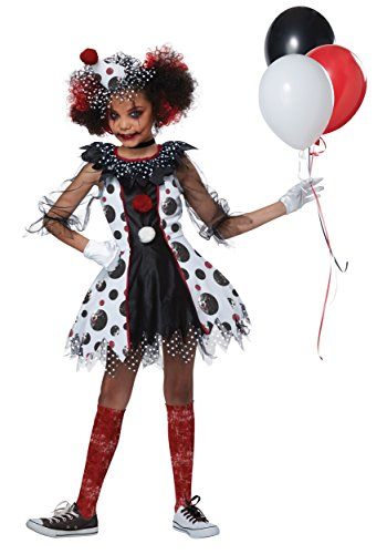 California Costumes Evil Circus Creepy Clown Girls Costume, Black/White/Red, (Evil Girl Clown Costumes)