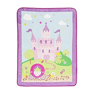 """EVERYDAY KIDS Toddler Throw Blanket - 30"""" by 40"""" - Princess Storyland - Super Soft, Plush, Warm and Comfortable"""