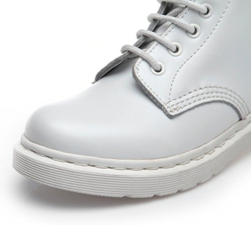uBeauty - Martin Boots - Women's Leather Boots - Classic Ankle Boots - Big Size Boots - Ladies Lace-up Shoes White ecV8Xmh