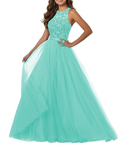 Women's A-line Beaded Soft Net Formal Party Gown Long Evening Prom Dress Racer Back Size 16 Mint Green