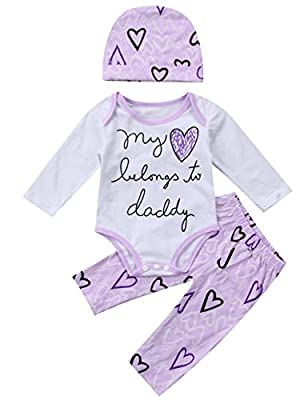 "Baby Girls Cotton Long Sleeve ""Blong to Daddy"" Bodysuit Pants Clothes Outfits Set+Hat"