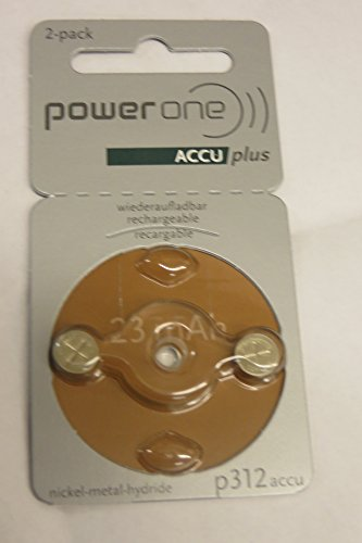 Power One ACCU Plus Size 312 Rechargeable Hearing Aid Batter